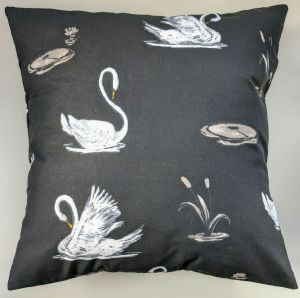 "16"" Black and White Swans Cushion Cover"